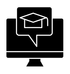 e-learning solid icon monitor and graduate hat vector image