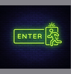 Enter neon sign design template exit enter vector