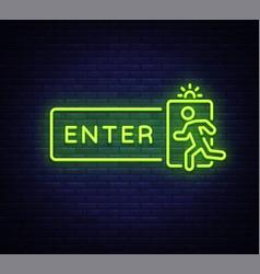 Enter neon sign design template exit vector