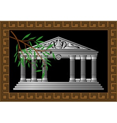 fantasy hellenic temple and olive branch vector image