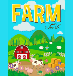 farm scene with animals and barn vector image