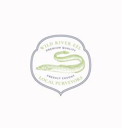 fish vintage frame badge or logo template hand vector image