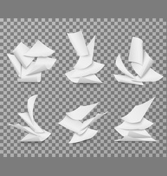 flying white blank paper sheets pile of document vector image