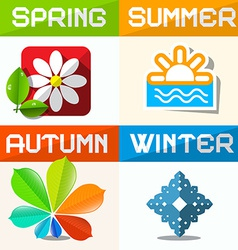 Four Seasons Paper Symbols vector