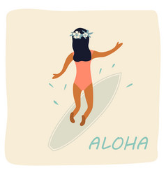 girl surfing waves vintage poster vector image