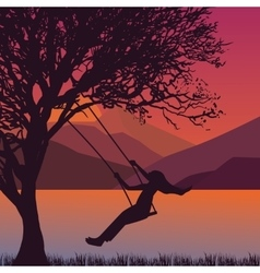 Girl swing in tree near lake during sunset enjoy vector