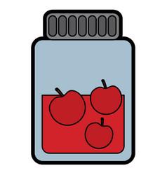 glass bottle apple fruit juice vector image