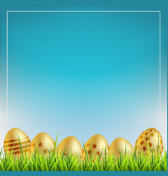 golden easter eggs on a grass easter sale vector image