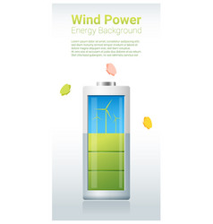 Green energy concept background with wind turbine vector