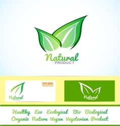 Green leafs eco bio product vector image