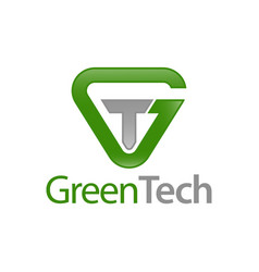 green tech triangle initial letter gt tg logo vector image
