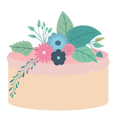 Hand drawing color cake with pink buttercream vector