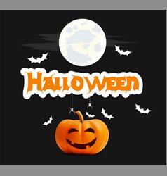 happy halloween black banner pumpkin vector image