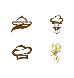 Hat chef with logo template vector