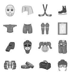Hockey icons set in black monochrome style vector