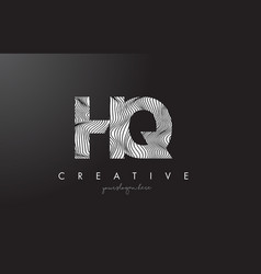 hq h q letter logo with zebra lines texture vector image