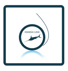 icon of fishing line on gray background round vector image