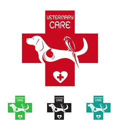 Image of veterinary symbol with dog cat and bird vector