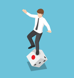 isometric businessman try to standing on rolling vector image