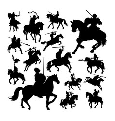 knight on horse silhouettes vector image