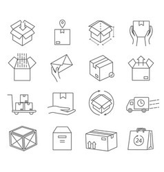 large set black and white post office icons vector image