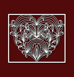 laser cutting square frame with ornamental heart vector image