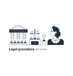 Legal court house trial services icons lawyer man vector image