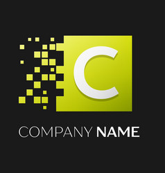 letter c logo symbol in the colorful square vector image