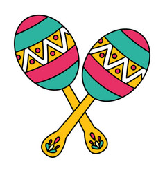 Mexican maracas traditional instrument icon vector