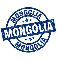 Mongolia blue round grunge stamp vector