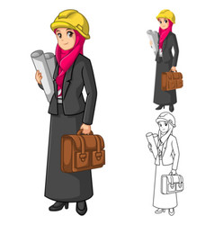 Muslim Businesswoman Architect Wearing Pink Veil vector