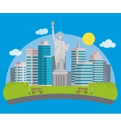 New york city view and the Statue of Liberty vector image