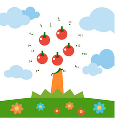 numbers game for children apple tree vector image