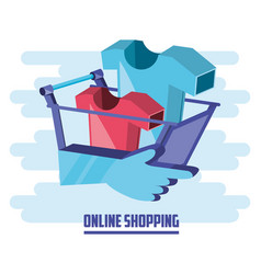 on line shopping with cart add vector image