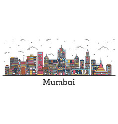 outline mumbai india city skyline with color vector image