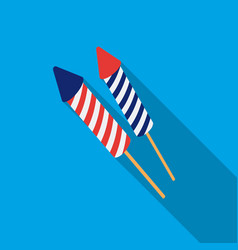 Patriotic fireworks icon in flat style isolated on vector