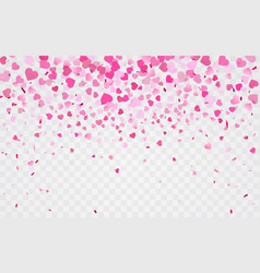 pink pattern of random falling hearts confetti vector image
