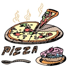Pizza Cake vector