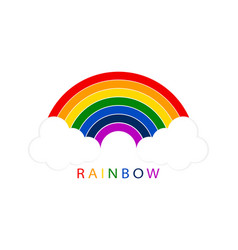 rainbow with white clouds on blank background vector image