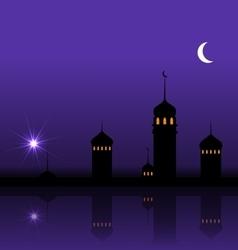 Ramadan Kareem Night Background with Silhouette vector image