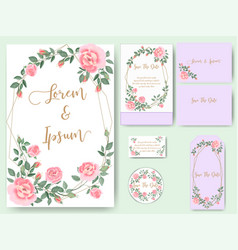Rose wedding card and tag vector