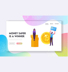 savings cash and credit cards website landing vector image