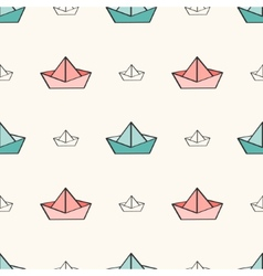 Seamless nautical pattern with paper boats vector image