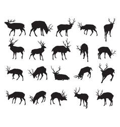 set deer silhouettes-2 vector image