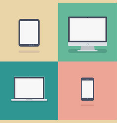 set of devices flat icons vector image
