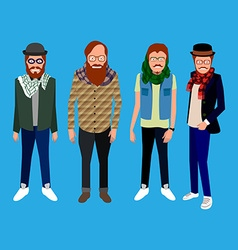 Set of hipster portraits vector