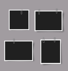 set realistic photo frames with shadows vector image