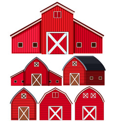 Set red barns on white background vector