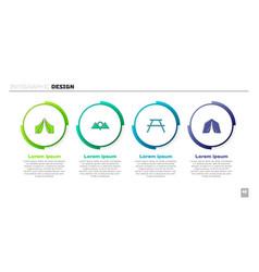 Set tourist tent location mountains picnic table vector