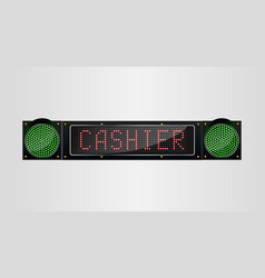 shining retro light banner cashier sign on a black vector image